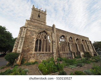 Ruins of St Peter church in Castle Park bombed during World War II and now preserved as a memorial in Bristol, UK