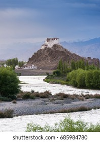 Ruins and Stakna Monastery surrounded with river and green trees in summer, Leh, Ladakh, Jammu and Kashmir, India