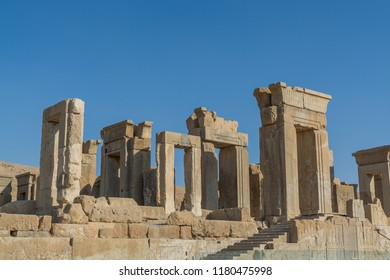 Ruins of the stone Gates in Persepolis, the ceremonial capital of the Achaemenid Empire, UNESCO declared the ruins of Persepolis a World Heritage Site in 1979.
