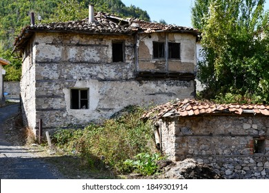 Ruins of a stone village house in an abondoned Turkish village in Bulgaria.