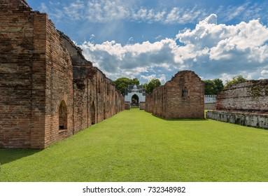 The ruins of storage buildings of King Narai's palace at Lopburi Province, Thailand. King Narai ruled Ayutthaya Kingdom from 1656 to 1688.