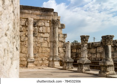 Ruins of a Synagogue in the old fishing village Capernaum, standing on the foundation of an older Synagogue where according to the New Testament Jesus preached
