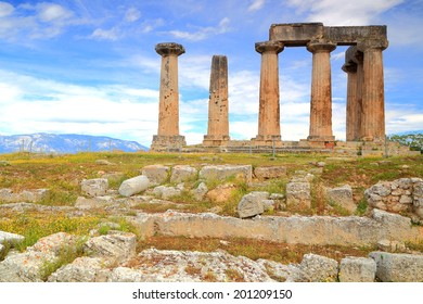 Ruins of the temple of Apollo in ancient Corinth, Greece