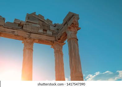 The ruins of the Temple of Apollo in ancient sity of Side in Turkey against the blue sky.
