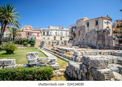 Ruins of Temple of Apollo in Syracuse, (Siracusa) Sicily.