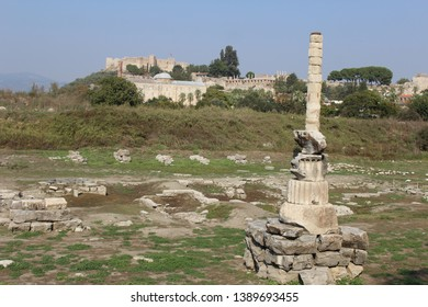 The ruins of Temple of Artemis against the backdrop of Isa Bey Mosque, Ayasuluk castle and St. Johns Basilica, Selçuk