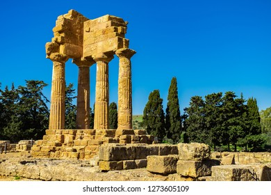 Ruins of Temple of Castor and Pollux in Valley of Temples in Agrigento, Sicily.