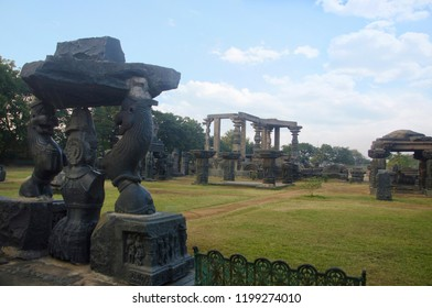 Ruins, Temple complex, Warangal fort, Warangal, Telangana state of India