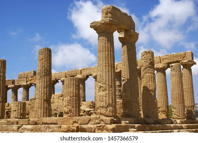 The ruins of a temple in the famous Valley of the Temples in the province of Agrigento in Sicily. Italy
