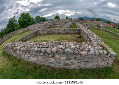 Ruins of the the Temple of Goddess Nemesis, gladiator's protector,inside of the antique province Dacia Apulensis,Sarmizegetusa,Hateg Country, Romania. It was founded around the years 106 to 110 d.Hr.