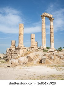 Ruins of the Temple of Hercules on the top of the mountain of the Amman citadel, Ancient Roman architecture and city on top of mountain in Jordan, Arab, Asia. Middle Eastern city