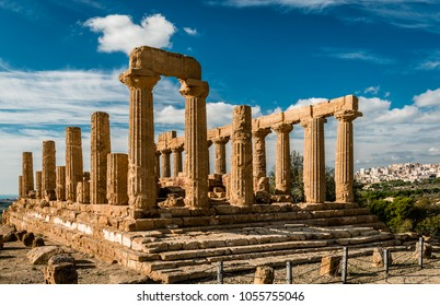 The ruins of the temple of Juno, in the Valley of the Temples, in Acragas, an ancient Greek city in Sicily, Italy. The modern city of Agrigento is on the right.