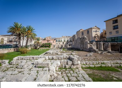 Ruins of Temple od Apollo in Syracuse (Siracusa) Sicily