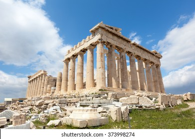 Ruins of the Temple Parthenon at the Acropolis.