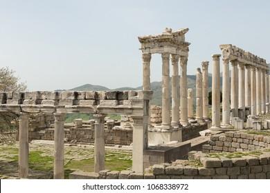 ruins of the Temple of Trajan in ancient Pergamon, Bergama, Turkey