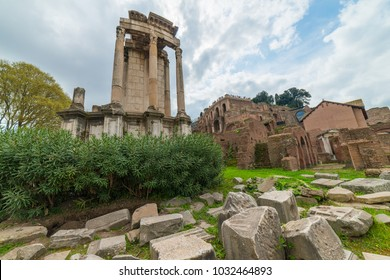 Ruins of the Temple of Vesta at the Roman Forum, Rome, Italy