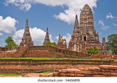 Ruins the temple of Wat Chai Watthanaram in Ayutthaya near Bangkok, Thailand
