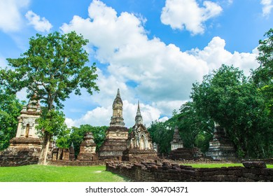 "Ruins of the Temple of ""Wat Chedi Ched Thaeo"" SI satchanalai Historical Park is a National Historical Park located in Sukhothai province Thailand August 6-2015."
