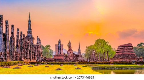 Ruins of the temple of Wat Mahathat Temple in the precinct of Sukhothai Historical Park, a UNESCO World Heritage Site, Evening in the historical park of Sukhothai city. Thailand