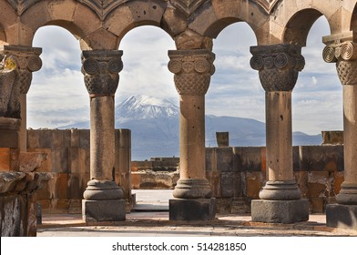 Ruins of the Temple of Zvartnots and the Mount Ararat in the background, in Yerevan, Armenia.