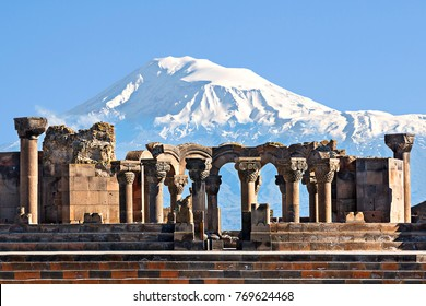 Ruins of the Temple of Zvartnots with the Mount Ararat in the background, Yerevan, Armenia.