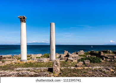 Ruins of Tharros in front of the mediterranean sea, Sardinia, Italy