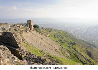 The ruins of the theatre of Pergamon on the mountain slope, near the modern turkish city of Bergama