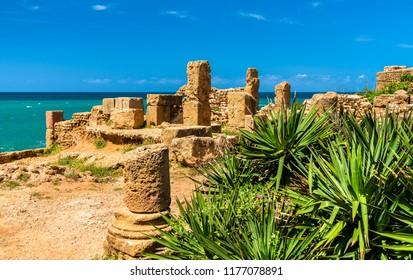 Ruins of Tipasa, a Roman colonia in Mauretania Caesariensis. Algeria, North Africa