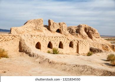 Ruins of the Toprak-Kala fortress of ancient Khorezm in Kyzylkum desert, Uzbekistan