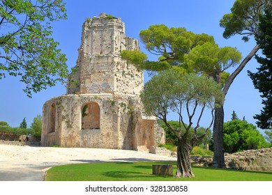 Ruins of the Tour Magne from the Roman era on Mont Cavalier, Nimes, Provence, France