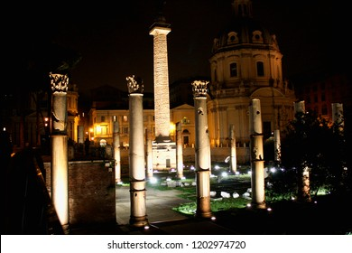 Ruins of Trajan's Forum in Rome ai night lights, Italy