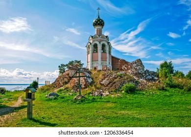 The ruins of the Transfiguration of the Savior Cathedral and the Assumption church bell tower. Savior Stone Monastery. Stone Island. Kubensky lake. Ust-Cuban region. Vologodskaya Oblast. Russia