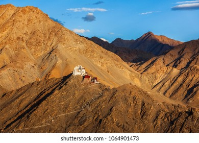 Ruins of Tsemo (Victory) Fort, Namgyal Tsemo Gompa on the cliff of Namgyal hill and Himalayas. Leh, Ladakh, Jammu and Kashmir, India