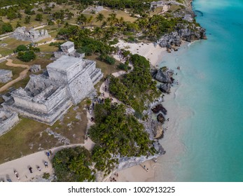 Ruins of Tulum, Mexico, January 17, 2018: View of Tulum ruins in the Yucatan in Mexico - a popular destination for tourists. Overlooking the Caribbean Sea in the Riviera Maya. Aerial View.
