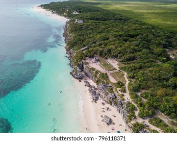 Ruins of Tulum, Mexico overlooking the Caribbean Sea in the Riviera Maya Aerial View. Tulum beach Quintana Roo Mexico - drone shot. White sand beach and ruins of Tulum.