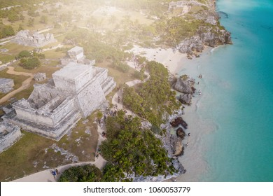 Ruins of Tulum, Mexico: View of Tulum ruins in the Yucatan in Mexico - a popular destination for tourists. Overlooking the Caribbean Sea in the Riviera Maya. Aerial View.