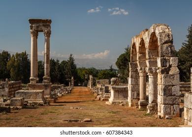 Ruins of the umayyad medieval city Anjar, Lebanon