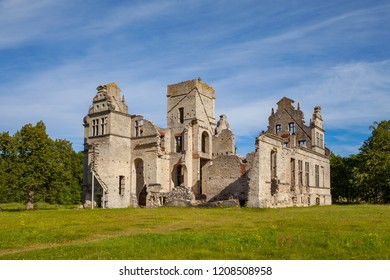 Ruins of the Ungru castle, Estonia. Sunny summer day.
