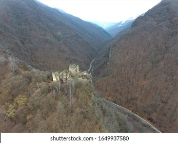The ruins of a unique castle in Europe located at an altitude of 392 m , being built in 1359 .