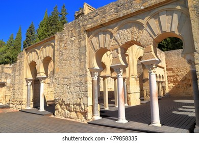 Ruins of the Upper Basilica walls ad arches from the Medina Azahara (vast, fortified Arab Muslim medieval palace-city) near Cordoba, Andalusia, Spain