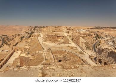 Ruins in upper part of crusader castle Kerak  (Al Karak), Jordan