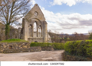 The ruins of Valle Crucis Abbey founded as a Cistercian monastery in 1201 and closed in 1537 during the dissolution of the monasteries. It is a prominent landmark in the vale of Llangollen North Wales