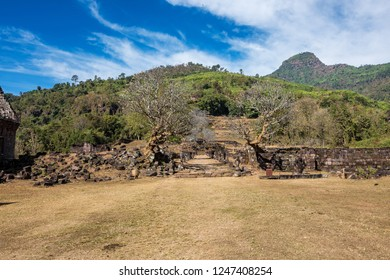 Ruins of the Vat Phou Khmer temple, nouned world heritage by UNESCO and also know as the small Angkor Wat, Laos