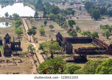Ruins of the Vat Pou Khmer temple, nouned world heritage by UNESCO and also know as the small Angkor Wat