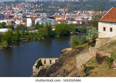Ruins of Vysehrad castle and new buildings in Prague
