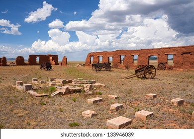 Ruins and wagons at Fort Union
