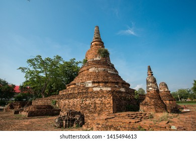Ruins of Wat Chak kra wad,Ancient Temple in the Ayutthaya Historical Park,Thailand,Asia.