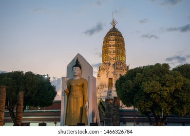 the ruins of the Wat Phra Si Ratana Mahathat a Temple in the city of  Phitsanulok in the north of Thailand.  Thailand, Phitsanulok, November, 2018.