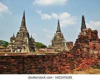 The Ruins of Wat Phra Si Samphet in Ayuthaya, Thailand. UNESCO World Heritage Site.