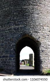 Ruins of welsh Aberystwyth Castle in Aberystwyth (United Kingdom), 8-28-2015